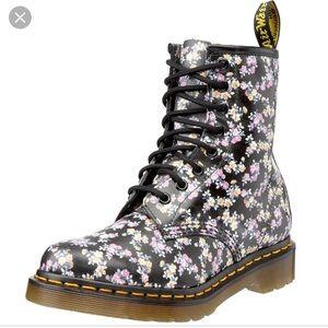 Dr. Martens black floral print boots